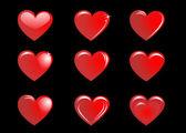 красные сердечки на чёрном фоне, коллекции — Cтоковый вектор