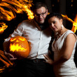 Pretty couple with the pumpkin — Stock Photo