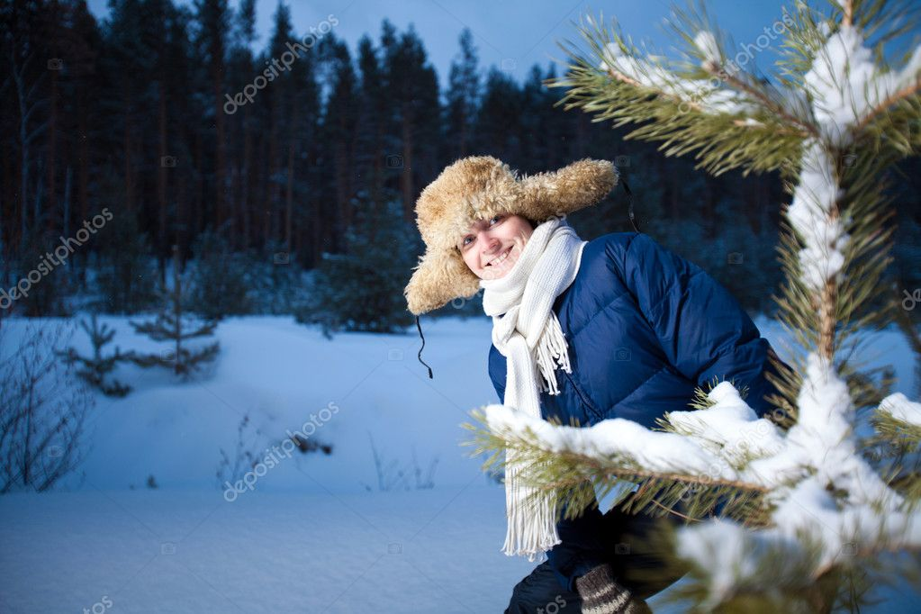 Pretty girl in the winter forest  Stock Photo #4725061
