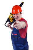 Emotional worker with the chainsaw — Stock Photo