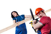 Workers are cutting linings with the chainsaw — Stock Photo