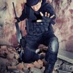 Sniper with the rifle in NATO uniform — Stock Photo