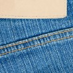 lege lederen etiket op jeans — Foto de Stock