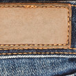 Blank leather label on jeans — Foto Stock