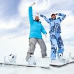 Two snowboard rider girls — Stock Photo #4373414