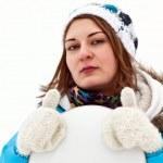 Serios snowboard rider girl — Stock Photo #4634324