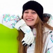Smiling snowboard rider — Stock Photo