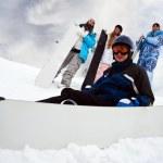 Four fun snowborders — Stock Photo #4634376