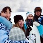 Four fun snowborders — Stock Photo #4634377