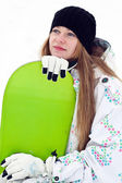 Dreaming snowboard rider girl — Stock Photo