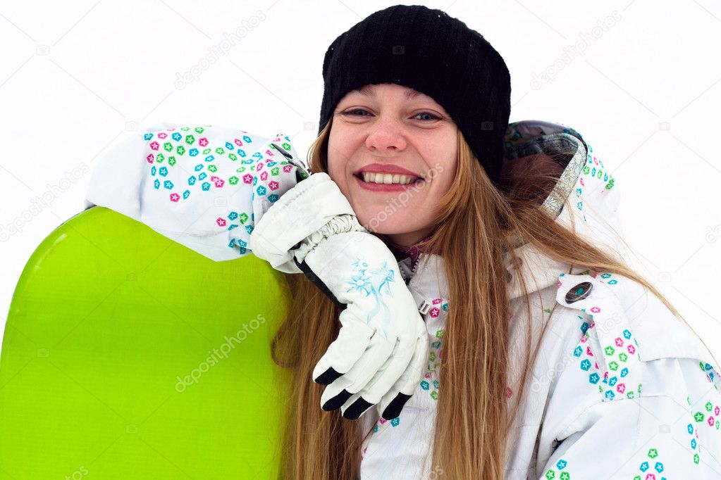 Smiling snowboard rider portrait  Stock Photo #4634369