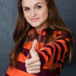 Portrait of young girl showing gesture All right! — Stock Photo