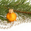 Royalty-Free Stock Photo: Christmas ball and green spruce branch