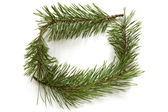Christmas frame made of pine branches — Stock Photo