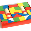 Wooden building blocks in box — Stock Photo