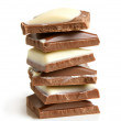 Stack of chocolate pieces — Stock Photo