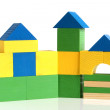 House made from children&#039;s wooden building blocks - Stockfoto