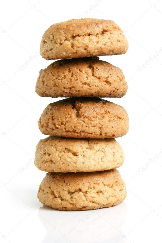 Stack of oatmeal cookies on a white background — Stock Photo #4422969