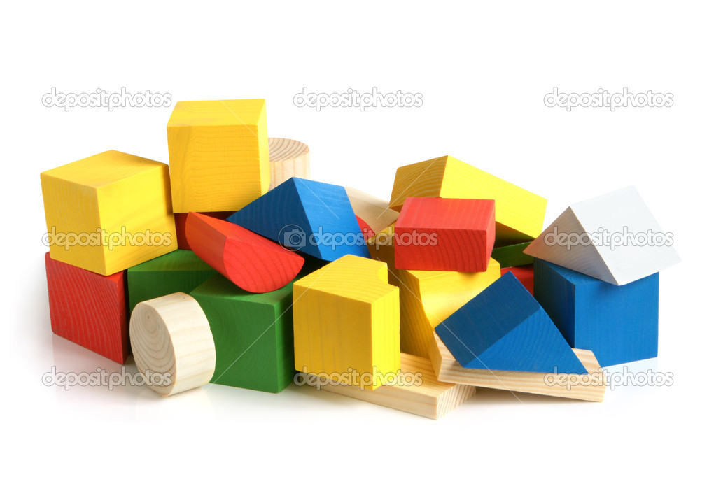 Wooden building blocks on a white background — Stock Photo #4525948