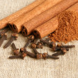 Cinnamon and cloves — Stock Photo