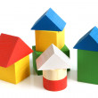 Stock Photo: House made from children's wooden building blocks