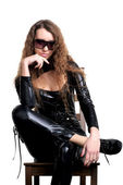 Sexy woman in skintight latex — Stock Photo