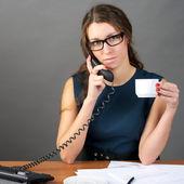 Businesswoman talking phone — Stock Photo