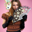 Cute young woman with carnival mask — Stock Photo