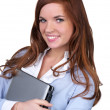 College girl carrying a laptop with a cute smile — Stock Photo