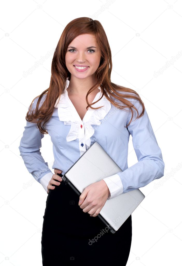 Student girl with modern laptop over white background — Stock Photo #5134264