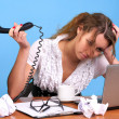 Overworked businesswoman — Stockfoto