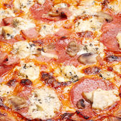 Pizza with cheese, salami and mushrooms — Stock Photo