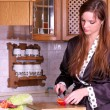 Pretty young female preparing healthy food — Stock Photo
