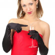 Cute young female in evening dress with glass of red wine. — Stock Photo #5301779