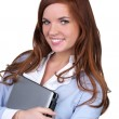 College girl carrying a laptop with a cute smile — Stock Photo #5308168