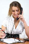 ładny biznes dama mówić telefon — Zdjęcie stockowe