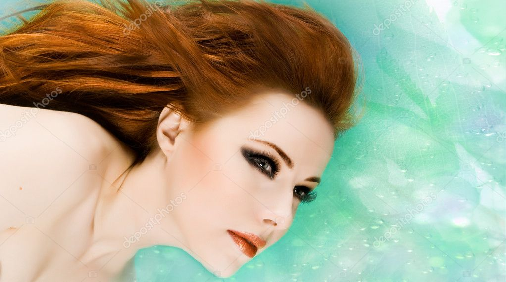 Sexy beautiful woman with red hair  Stock Photo #4439083