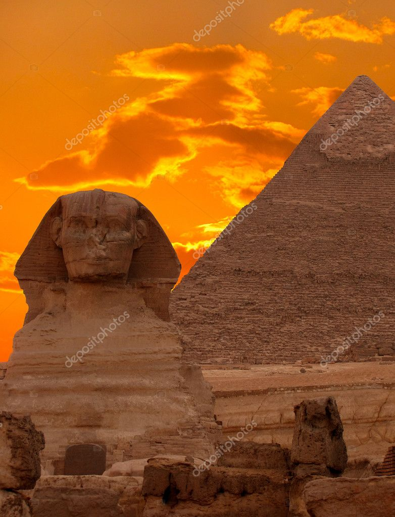 The Sphinx and the Great Pyramid, Egypt           — Stock Photo #5350774