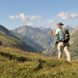 Hiking in Alps - Stock Photo