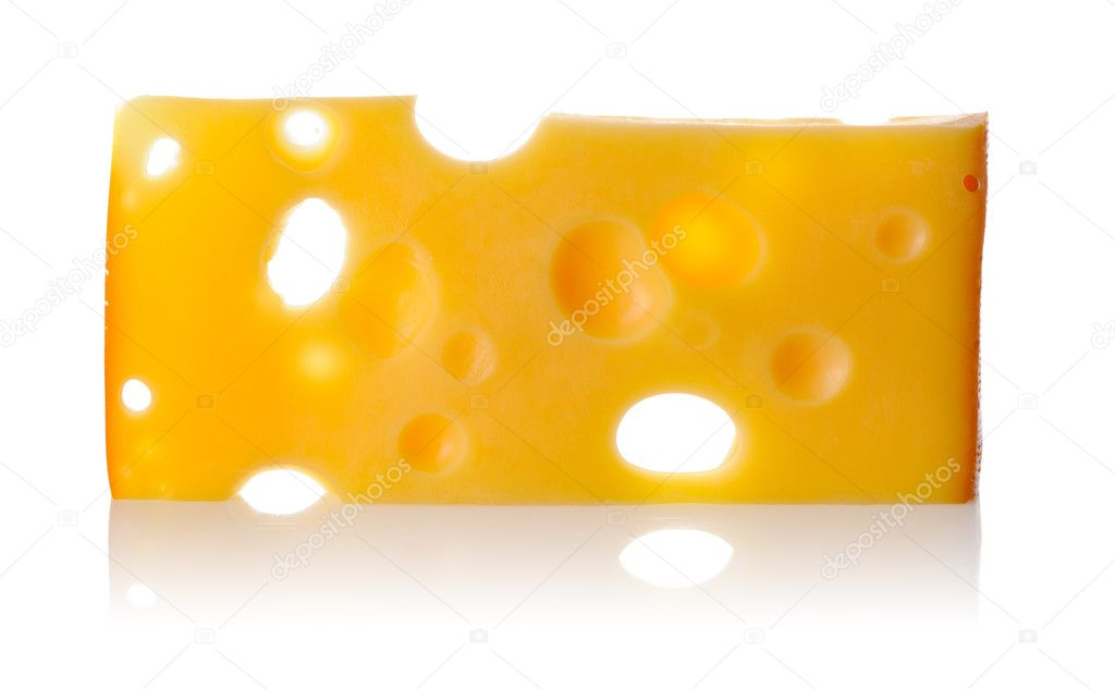 Swiss cheese isolated on white background — Stock Photo #4063424