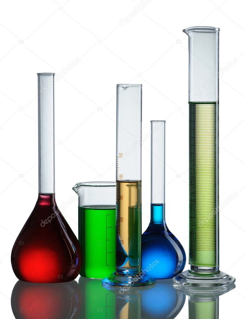 Chemical flasks with reagents isolated on white background — Photo #4160554