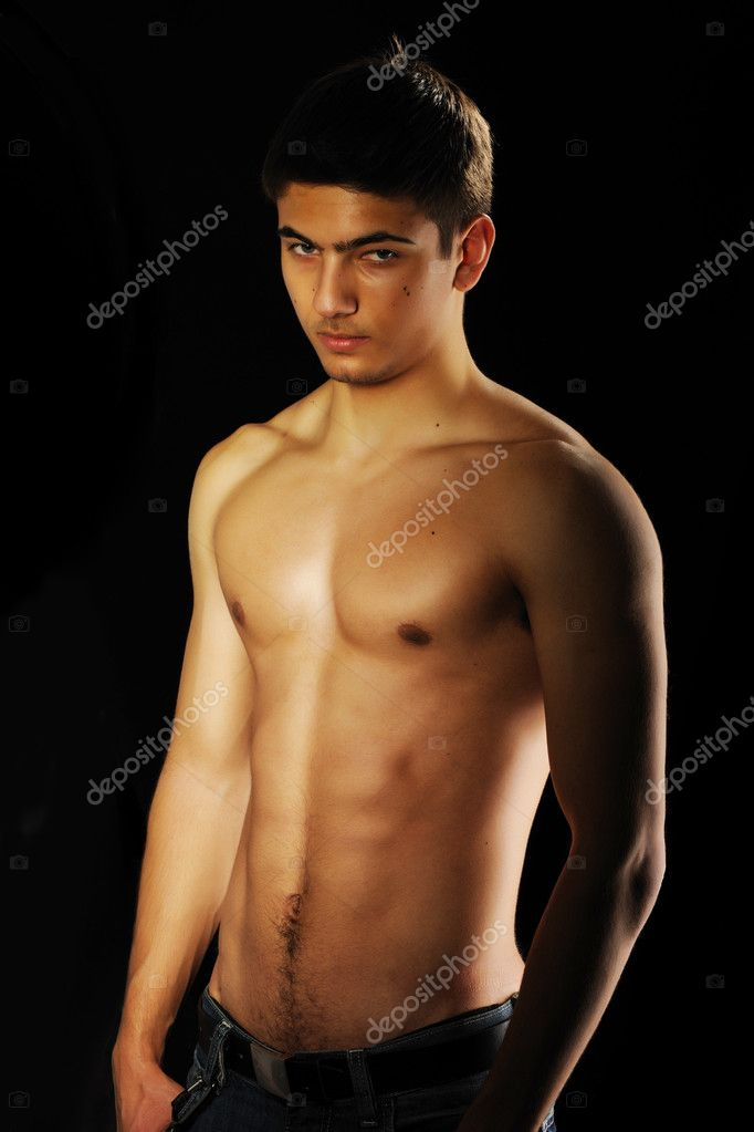 Man with muscular torso over black — Stock Photo #4621795