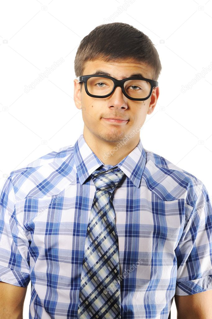 Young nerd student over white — Stock Photo #4621814