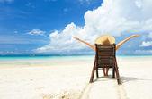 Bir plajda kız — Stok fotoğraf
