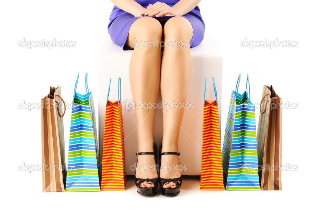 Woman's legs and shopping bags   Foto Stock #5220254