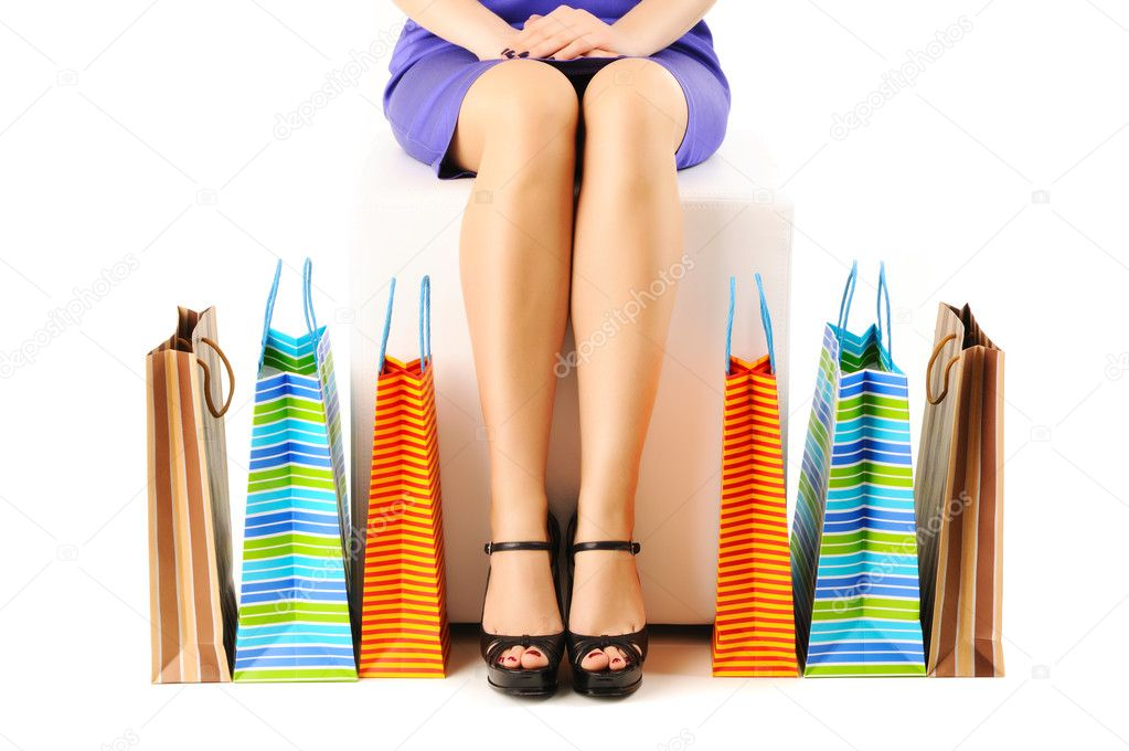 Woman's legs and shopping bags  — Stockfoto #5220254
