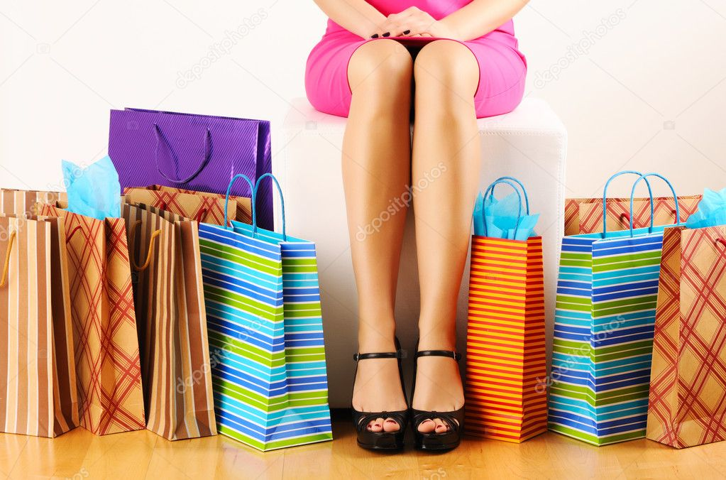 Woman's legs and shopping bags  — Stok fotoğraf #5343020