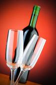 Wine glasses against background — Stock Photo