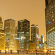 Chicago downtown area at night — Stock Photo