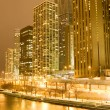 Chicago downtown area at night - Stock Photo
